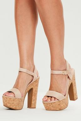 Nude Cork Platform Heeled Sandals