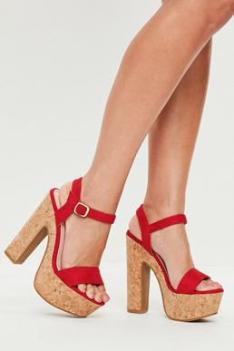 Red Cork Platform Heeled Sandals