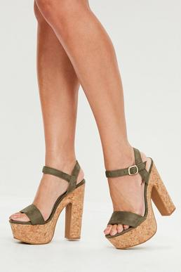Khaki Cork Platform Heeled Sandals