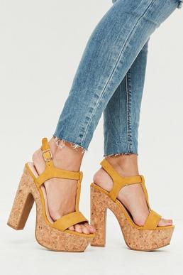 Yellow Cork T-Bar Platform Heeled Sandals