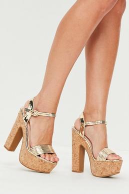 Gold Metallic Cork Platform Heeled Sandals