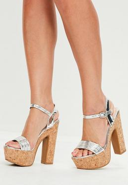 Silver Metallic Cork Platform Heeled Sandals