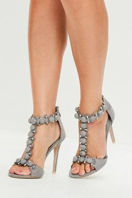 Grey Faux Suede Heeled Sandals