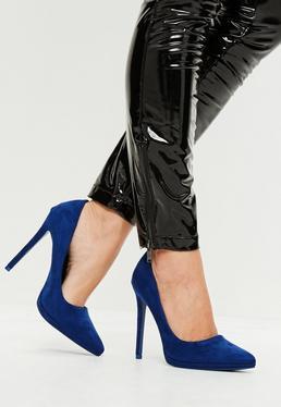 Blue Faux Suede Court Shoes