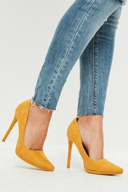 Yellow Faux Suede Court Shoes