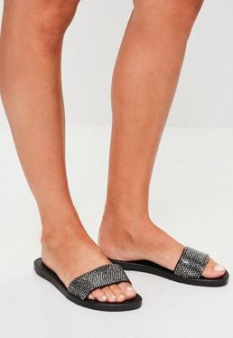 Black Diamante Strap Sliders