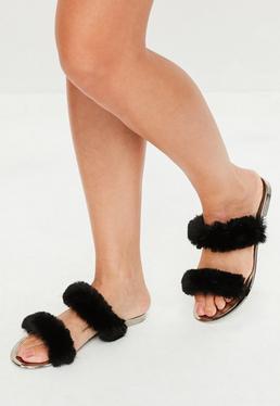 Black Double Bar Faux Fur Sliders