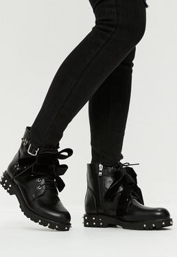 Black Faux Leather Bow Detail Boots
