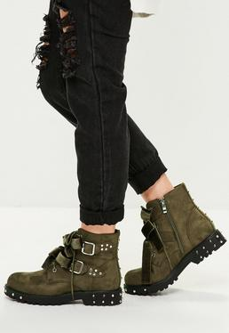Khaki Suede Buckle Bow Detail Boots