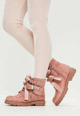 Pink Faux Suede Bow Detail Boots