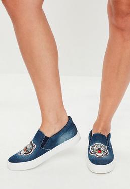 Blue Denim Tiger Detail Slip On Shoes