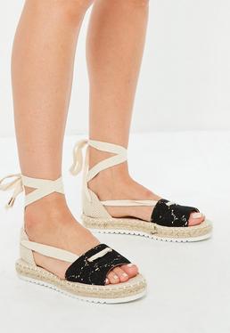 Beige Lace Front Espadrille Sandals