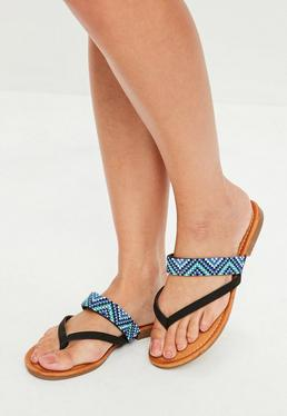 Black Bead Slip On Sandals