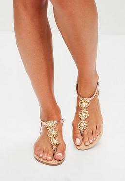 Rose Gold Metal Flower Sandals