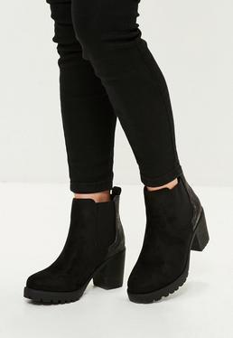 Black Metallic Back Chunky Heel Ankle Boot