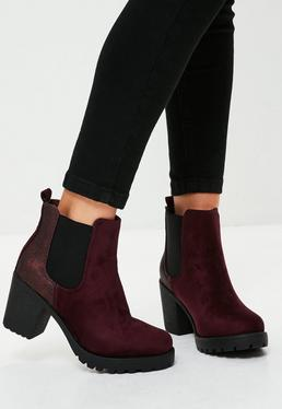 Burgundy Metallic Chunky Heels Ankle Boots