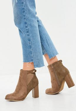 Beige Button Side Ankle Boots