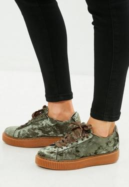 Khaki Crushed Velvet Creepers