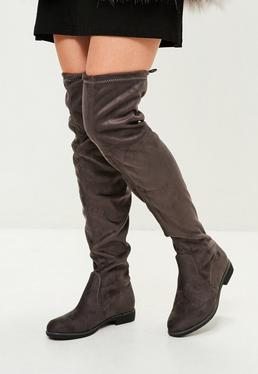 Grey Flat Over The Knee Boot