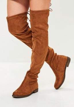 Brown Flat Over The Knee Boot