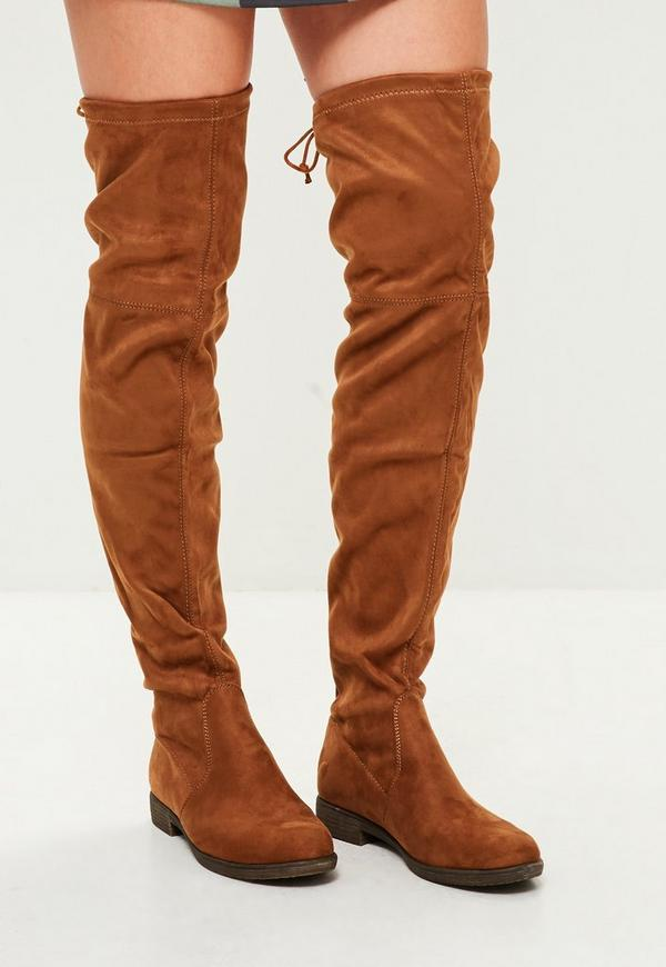 brown flat the knee boot missguided