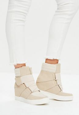 Cream Minimal Wedge Sneakers