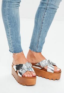 Silver Metallic Jewel Platform Sandal