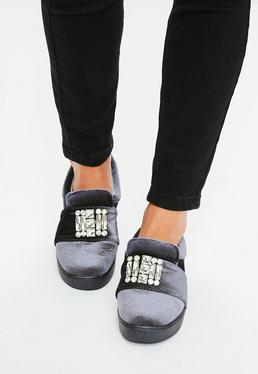 Grey Velvet Jewel Sneakers