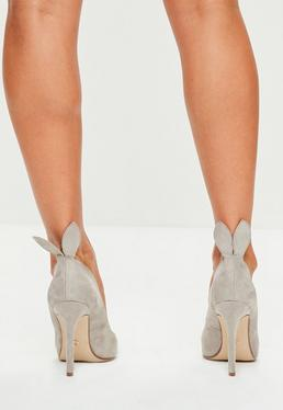Grey Bunny Ear Court Shoes