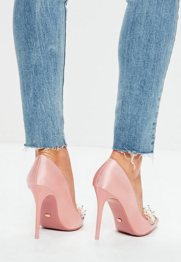 Pink Pearl Embellished Court Shoes | Missguided Ireland
