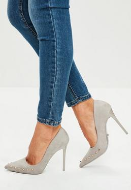 Grey Studded Pointed Court Shoes