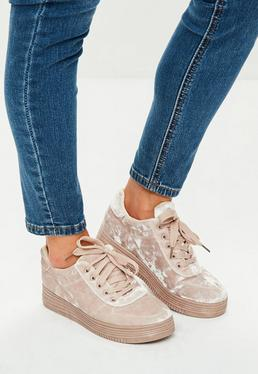 Beige Crushed Velvet Trainers