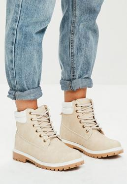 Nude Lace Up Ankle Boots