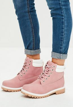 Pink Lace Up Ankle Boots