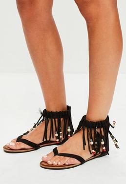 Black Tassel Band Beaded Flat Sandals