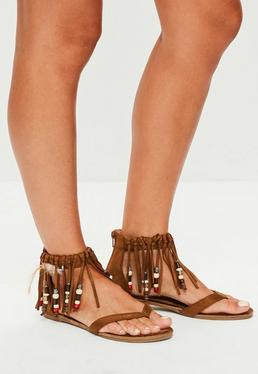 Brown Tassel Band Beaded Flat Sandals