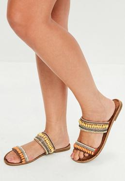 Brown Bead Double Slip On Sandals