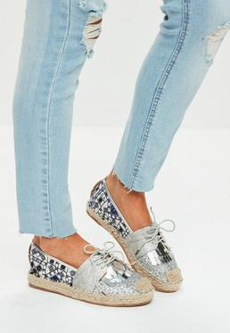 Silver Embroidered Glitter Front Espadrilles