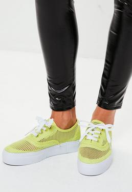 Green Mesh Fishnet Sneakers