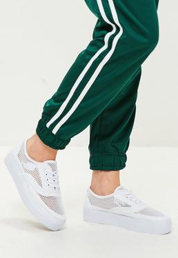 White Mesh Fishnet Sneakers