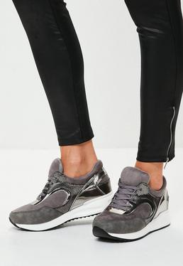 Grey Metallic Detail Sneakers
