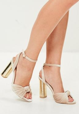 Cream Knot Front Heels