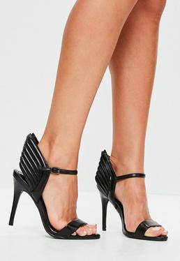 Black Wing Back Barely There Heels