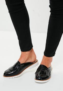 Black Open Back Loafers
