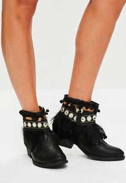 Black Feather Embellished Ankle Boots
