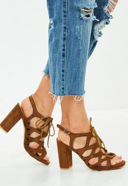 Brązowe wiązane sandały na obcasie