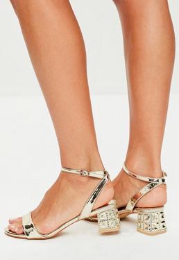 Gold Metal Block Heeled Sandals