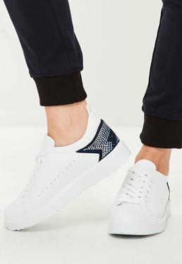 White Star Detail Sneakers