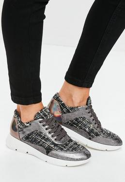 Grey Tweed Fabric Lace Up Trainers