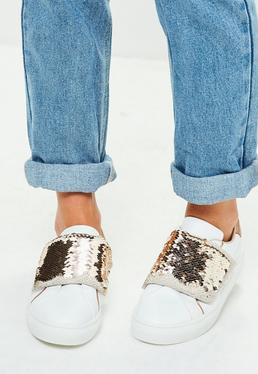 Gold Sequin Strap Sneakers